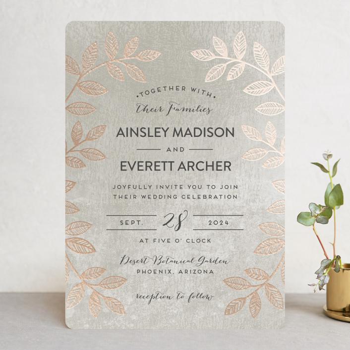 """Folk Filigree"" - Modern, Rustic Foil-pressed Wedding Invitations in Linen by shoshin studio."