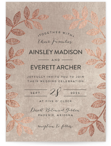 This is a portrait botanical, metallic, modern, rustic, pink Wedding Invitations by shoshin studio called Folk Filigree with Foil Pressed printing on Signature in Classic Flat Card format. Folk inspired botanical motif with rustic, silversmith finish complements your 'back to ...