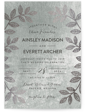 This is a portrait botanical, metallic, modern, rustic, green Wedding Invitations by shoshin studio called Folk Filigree with Foil Pressed printing on Signature in Classic Flat Card format. Folk inspired botanical motif with rustic, silversmith finish complements your 'back to ...