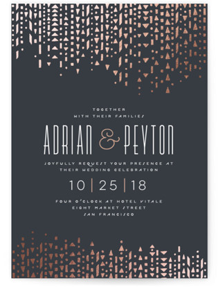 Handdrawn Geometrics Foil-Pressed Wedding Invitations