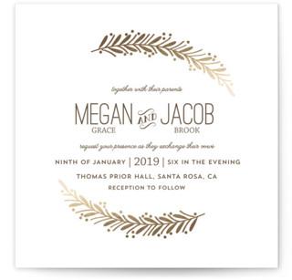 Framed Wreath Foil-Pressed Wedding Invitations