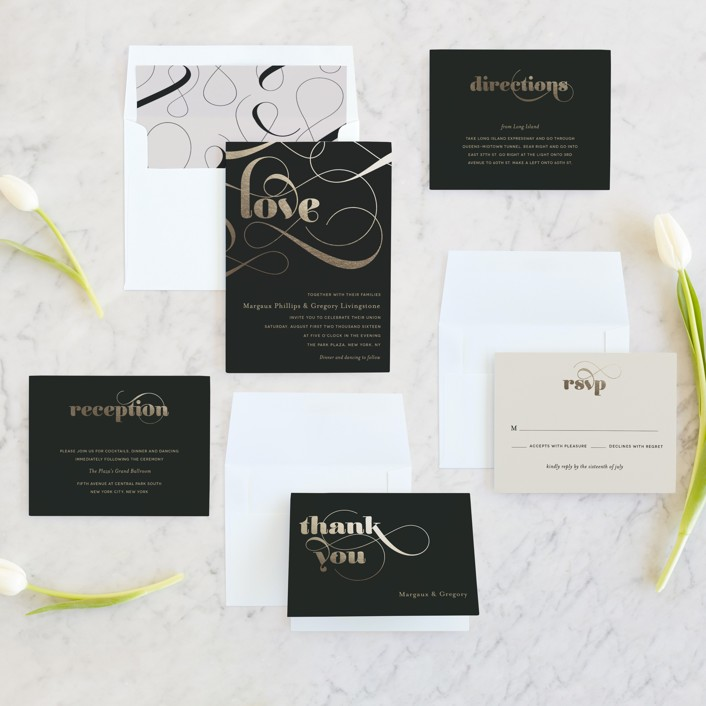 Montreal Wedding Invitations: Swirling Romance Foil-Pressed Wedding Invitations By