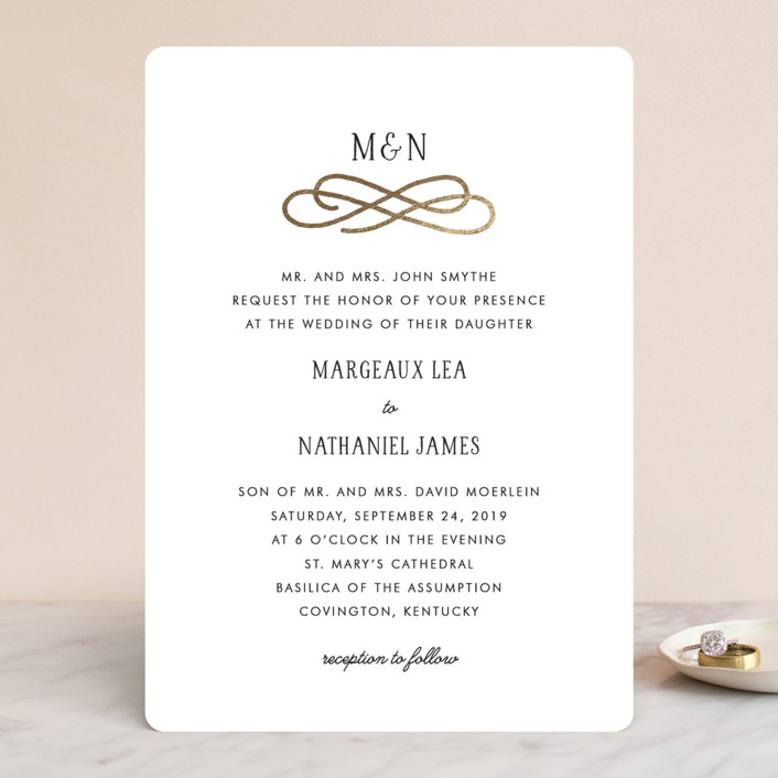 """""""Timeless"""" - Foil-pressed Wedding Invitations in Gold by Kim Dietrich Elam."""