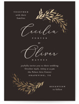 This is a black foil stamped wedding invitation by Laura Hankins called Vine + Pen with foil-pressed printing on signature in standard.