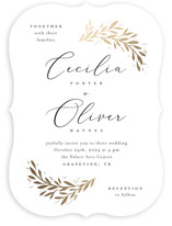 This is a white foil stamped wedding invitation by Laura Hankins called Vine + Pen with foil-pressed printing on signature in standard.