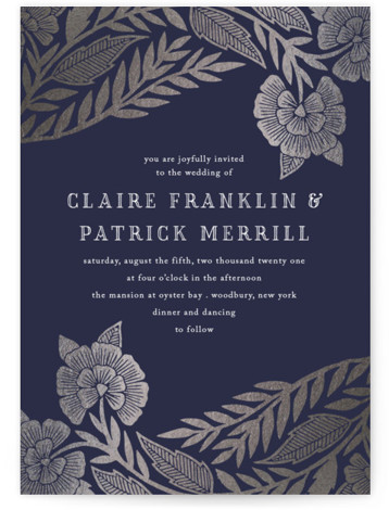 This is a portrait botanical, blue, silver Wedding Invitations by Katharine Watson called Block Printed Border with Foil Pressed printing on Signature in Classic Flat Card format. This design uses a hand block printed border, hand carved from linoleum and ...