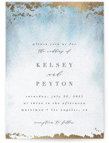 This is a blue foil stamped wedding invitation by Everett Paper Goods called Ethereal Wash with foil-pressed printing on signature in standard.