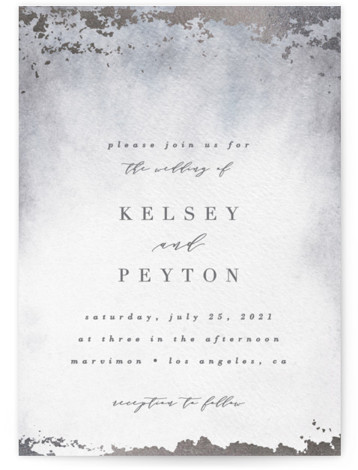 This is a portrait modern, painterly, grey Wedding Invitations by Everett Paper Goods called Ethereal Wash with Foil Pressed printing on Signature in Classic Flat Card format. This wedding invitation features a minimalist composition with an hand painted background.