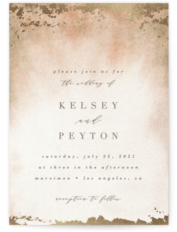 This is a portrait modern, painterly, brown Wedding Invitations by Everett Paper Goods called Ethereal Wash with Foil Pressed printing on Signature in Classic Flat Card format. This wedding invitation features a minimalist composition with an hand painted background.