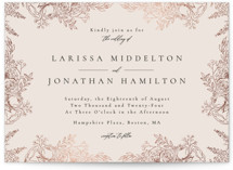 This is a beige foil stamped wedding invitation by frau brandt called Floral Frame with foil-pressed printing on signature in standard.