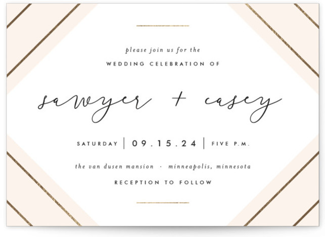 This is a landscape modern, preppy, pink, gold Wedding Invitations by carly reed walker called Monroe with Foil Pressed printing on Signature in Classic Flat Card format. Geometric, calligraphic, modern