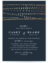 This is a blue foil stamped wedding invitation by Ana Sharpe called Rippling Waters with foil-pressed printing on signature in standard.