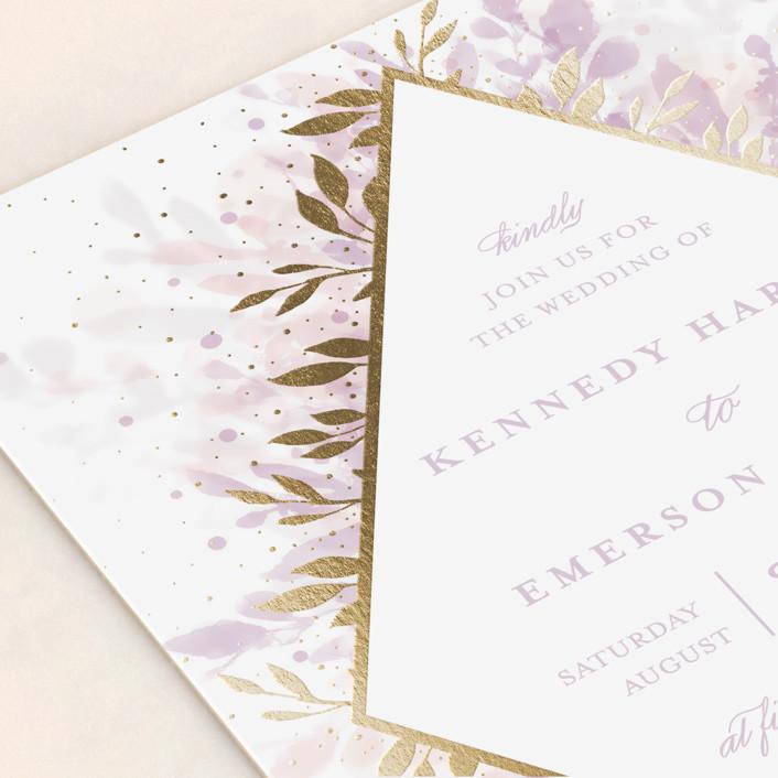 Botanical bokeh foil pressed wedding invitations by angela marzuki close up stopboris Gallery