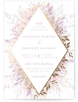 This is a purple foil stamped wedding invitation by Angela Marzuki called botanical bokeh with foil-pressed printing on signature in standard.