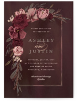 This is a red foil stamped wedding invitation by Susan Moyal called Verdigris with foil-pressed printing on signature in standard.