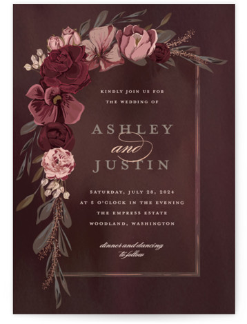 This is a portrait botanical, painterly, red, rosegold Wedding Invitations by Susan Moyal called Verdigris with Foil Pressed printing on Signature in Classic Flat Card format. This Wedding invitation design features a hand drawn floral frame, aged copper leaves and ...