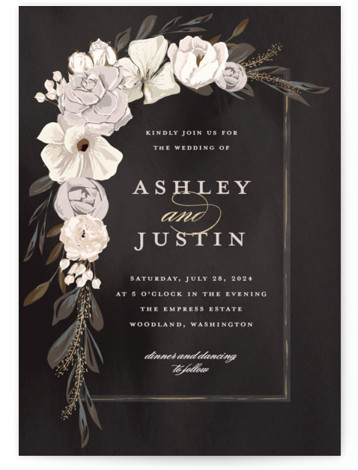 This is a portrait botanical, painterly, black, gold, white Wedding Invitations by Susan Moyal called Verdigris with Foil Pressed printing on Signature in Classic Flat Card format. This Wedding invitation design features a hand drawn floral frame, aged copper leaves ...