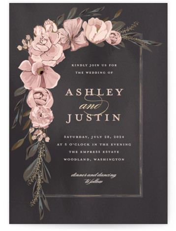 This is a portrait botanical, painterly, black, pink Wedding Invitations by Susan Moyal called Verdigris with Foil Pressed printing on Signature in Classic Flat Card format. This Wedding invitation design features a hand drawn floral frame, aged copper leaves and ...
