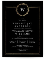 This is a black foil stamped wedding invitation by Phrosne Ras called Little Wreath with foil-pressed printing on signature in standard.