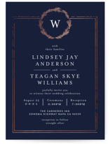 This is a blue foil stamped wedding invitation by Phrosne Ras called Little Wreath with foil-pressed printing on signature in standard.