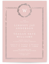 This is a pink foil stamped wedding invitation by Phrosne Ras called Little Wreath with foil-pressed printing on signature in standard.