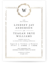 This is a gold foil stamped wedding invitation by Phrosne Ras called Little Wreath with foil-pressed printing on signature in standard.