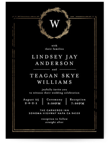This is a portrait bold and typographic, classic and formal, monogram, black, gold Wedding Invitations by Phrosne Ras called Little Wreath with Foil Pressed printing on Signature in Classic Flat Card format. A simple foil design with a hand drawn ...