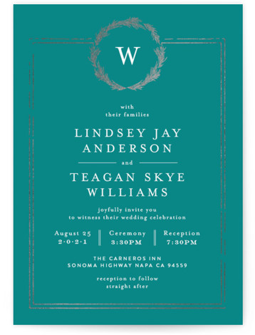 This is a portrait bold and typographic, classic and formal, monogram, blue, silver Wedding Invitations by Phrosne Ras called Little Wreath with Foil Pressed printing on Signature in Classic Flat Card format. A simple foil design with a hand drawn ...