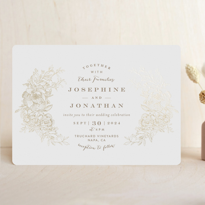 """Engraved Flowers"" - Foil-pressed Wedding Invitations in Gold by Phrosne Ras."