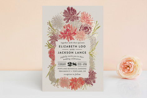 Dahlia Bouquet Foil-Pressed Wedding Invitations