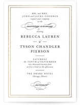 This is a white foil stamped wedding invitation by Kimberly FitzSimons called Eloquence with foil-pressed printing on signature in standard.