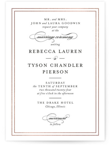 This is a portrait bold and typographic, bold typographic, classic and formal, classic formal, classical, traditional, rosegold, black and white Wedding Invitations by Kimberly FitzSimons called Eloquence with Foil Pressed printing on Signature in Classic Flat Card format.