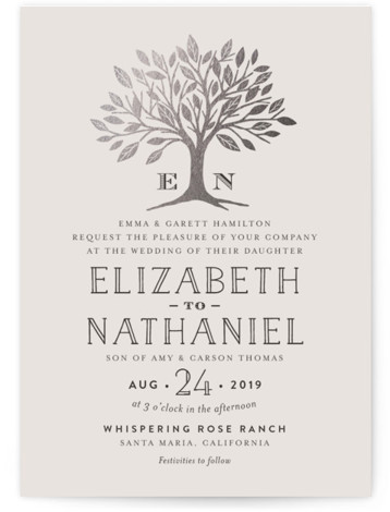This is a portrait botanical, illustrative, metallic, monogrammed, rustic, grey, silver Wedding Invitations by Griffinbell Paper Co. called Enchanted with Foil Pressed printing on Signature in Classic Flat Card format.