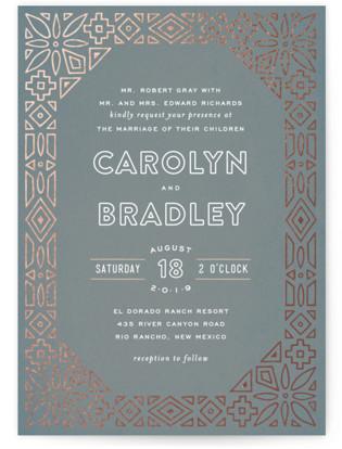 Geometric Border Foil-Pressed Wedding Invitations