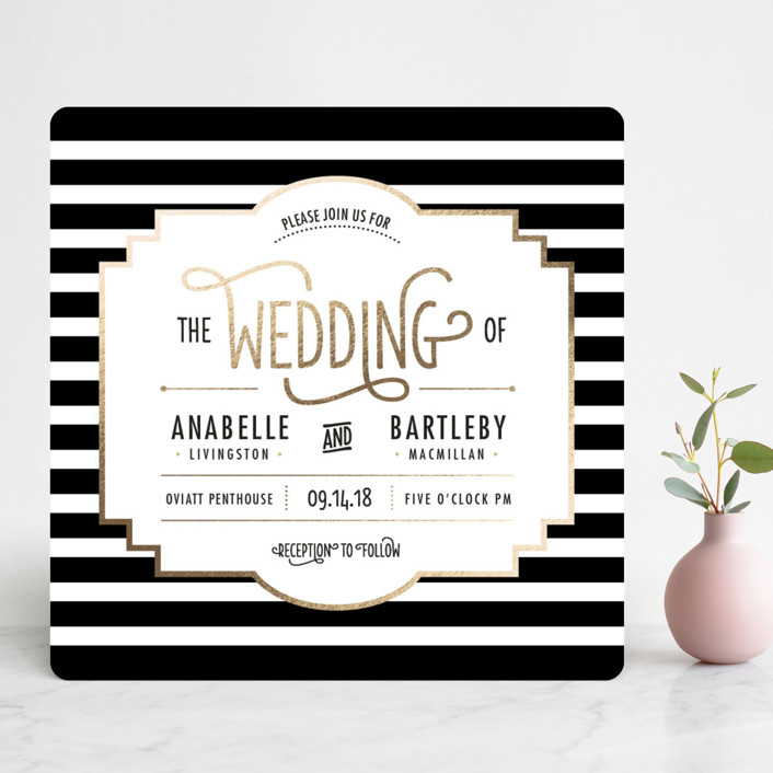 """""""Ascot Chic"""" - Vintage, Elegant Foil-pressed Wedding Invitations in Gold by Frooted Design."""