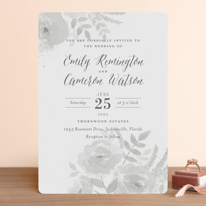 """Watercolor Floral"" - Foil-pressed Wedding Invitations in Fog by Jill Means."