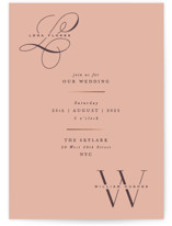 This is a orange foil stamped wedding invitation by Hooray Creative called Initially Yours with foil-pressed printing on signature in standard.