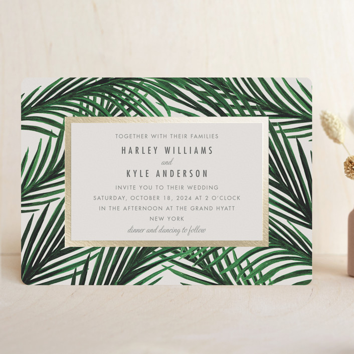 """""""Tropical Love"""" - Foil-pressed Wedding Invitations in Ivory by Elly."""