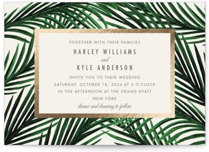 Tropical Love Foil-Pressed Wedding Invitations