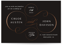 This is a black foil stamped wedding invitation by Lori Wemple called regale with foil-pressed printing on signature in standard.