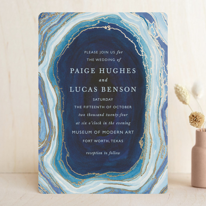 """Gilt Agate"" - Bohemian, Rustic Foil-pressed Wedding Invitations in Navy by Kaydi Bishop."