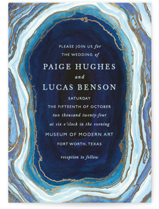 Gilt Agate Foil Pressed Wedding Invitations
