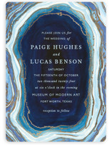 This is a blue foil stamped wedding invitation by Kaydi Bishop called Gilt Agate with foil-pressed printing on signature in standard.