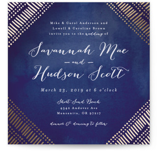 photo of Indigo Print Foil Pressed Wedding Invitations