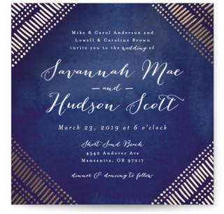 Indigo Print Foil-Pressed Wedding Invitations