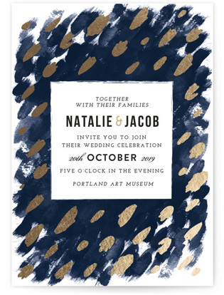 photo of Midnight And Gold Foil Pressed Wedding Invitations