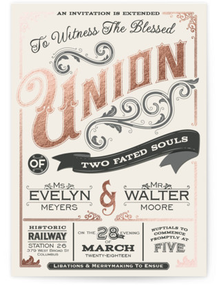 A Blessed Union Foil-Pressed Wedding Invitations