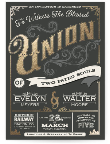 This is a portrait bold typographic, vintage, gold, grey Wedding Invitations by GeekInk Design called A Blessed Union with Foil Pressed printing on Signature in Classic Flat Card format. This wedding invite features vintage/old timey wording and embellishments that make ...