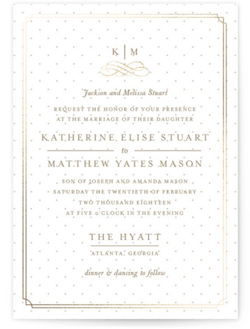 This is a portrait classical, elegant, formal, monogrammed, preppy, brown Wedding Invitations by Kristen Smith called A Glamorous Affair with Foil Pressed printing on Signature in Classic Flat Card format. A perfect invite for a more traditional, classic wedding that ...