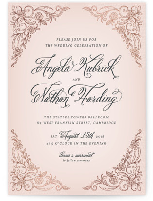 Elegant Lace Foil-Pressed Wedding Invitations